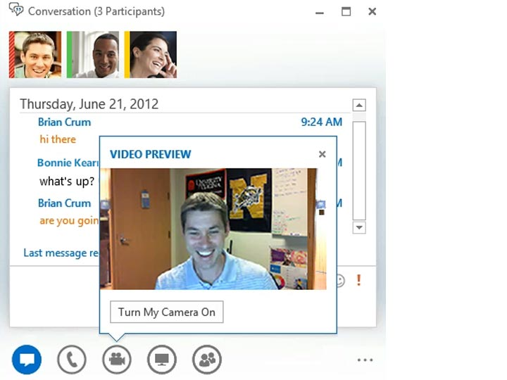 Place audio or video calls to other Lync users